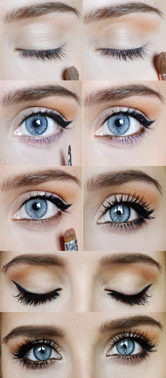 tuto maquillage pour yeux bleu